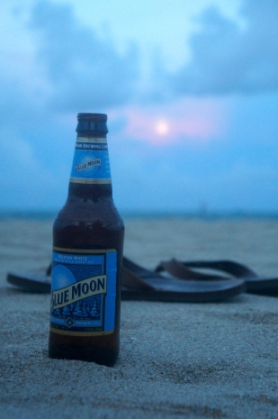 So we opened a Blue Moon beer, rightfully.